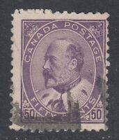 """Canada Scott #95 50 cent purple  """"King Edward VII""""   F"""