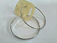 7cms Hoop Earrings White Rimmed Silver Tone