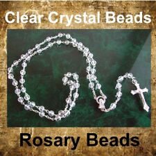 NEW CLEAR ROUND GLASS ROSARY PRAYER BEADS CHAIN NECKLACE & METAL CRUCIFIX RB22