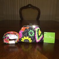 NWT Vera Bradley Kiss Kiss Coin Purse & Lanyard in Ziggy Zinnia