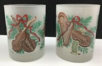 2 Georges Briard Frosted Glasses 14 oz Double Old Fashioned Holiday Christmas