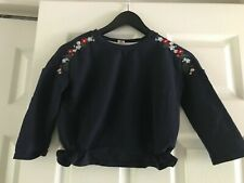 New Girls Multi-color Embroidered Flower Navy light Short sweatshirt top sz 7-8