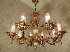 antik 8 fl  Kronleuchter Lüster Deckenlampe Bronze Gold Onyx Engel   ca.1930