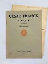 Noten. Franck. Sonate. (E. Sauret). Violine & Klavier.  Klav.-Ausz. und Stimme.