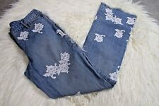 INC Women's High Waist Floral Light Wash Flare Frayed Trendy Boho Jeans size 2
