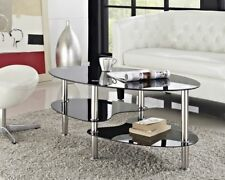 Cara Coffee Table Oval Black Clear Glass Chrome With Shelf Living Room Furniture