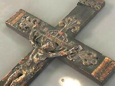 Croix Art Populaire XVIII ème ou XVII ème Antique French Cross Polychrome 18th