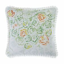 BARBARA BARRY Bouquet Square TOSS PILLOW White Green Orange Nectar