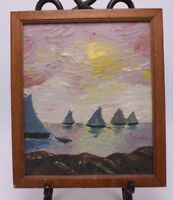 Impasto Impressionist Painting Sailboats on Board Framed M Myers 1950 MCM 11 x 9