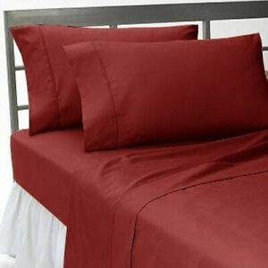 Deep Pocket Bedding Items 1000/1200 TC Egyptian Cotton All Sizes Burgundy Solid