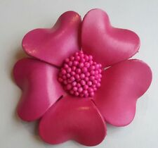 Big real leather flower brooch, cerise bright pink. Brand new. 9cm x 9cm.