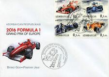 Azerbaigian 2016 FDC Formula 1 BAKU GRAND PRIX DI EUROPA 4v Copertura Auto FRANCOBOLLI