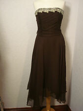 Monsoon brown silk dress with gold embroidered trim/sequins 8-10
