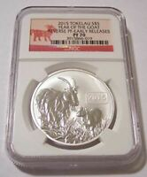 Tokelau 2015 1 oz Silver $5 Year of the Goat Reverse Proof PF70 NGC ER