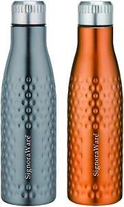 Hammered Single Walled Stainless Steel Fridge Water Bottle 1000 ml- Set of 2