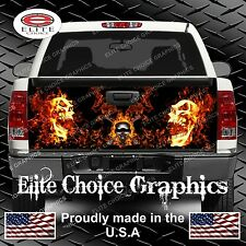 Flaming Skull Truck Tailgate Wrap Vinyl Graphic Decal Sticker Wrap