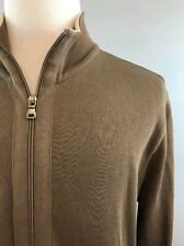 HUGO BOSS Brown 100% Cotton Full Zip Dressy Sweater Jacket Men's Size Large