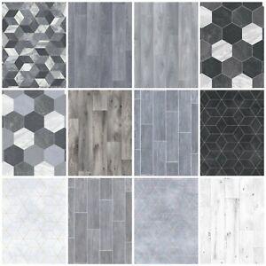 Heavy Feltback Quality Cushion Floor Vinyl Flooring Grey Kitchen Bathroom Lino