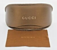 Gucci Sunglasses Case XL Gold Clam Shell With Cloth Authentic Fits All Eyewear
