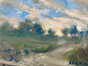 Hudson Valley Sunset  Art Oil Painting Landscape Trees Spring Open Air Study
