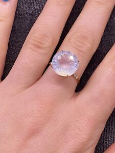 Moonstone Ring On 9ct Gold Band size S with accent diamonds