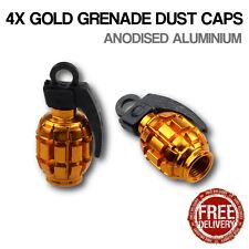 4x Gold Grenade Car Bike Motorcycle BMX Wheel Tyre Valve Metal Dust Caps Dusties