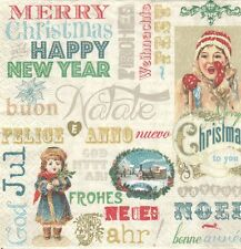 2 serviettes en papier Noël Vintage Nouvel an Decoupage Paper Napkins X-mas