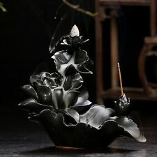 Ceramic Backflow Incense Holder Combination Burner  Lotus Stream  Free Cones