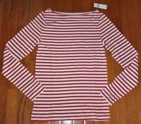 NEW NWT Womens GAP Long Sleeve Boatneck T-Shirt FAVORITE Tee Red Stripe *E2