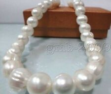 """HUGE NATURAL SOUTH SEA 17""""10MM GENUINE WHITE BLUE BAROQUE PEARL NECKLACE"""
