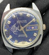 Soniko Super Du Luxe Vintage 35,5 mm Main Manuel Day Date Pas Marche pour Pièces