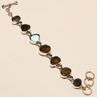 """925 Solid Sterling Silver Charming Best Quality Labradorite Bracelet With """"7.05"""""""