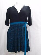 Covington Plus Size 3 Quarter Sleeve Surplice Dress 22W Teal & Black Abstract