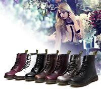 Women's Martin Boots Combat Military Leather Low Heel Ankle Casual Lace-Up NEW