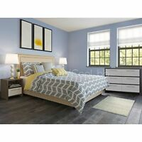 Cream 5 Piece Linen Upholstered King Platform Bed Set Home Bedroom Furniture