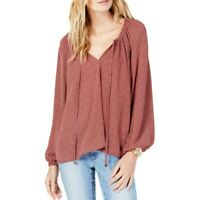 MICHAEL KORS Women's Printed Tie Bubble Sleeve Peasant Blouse Shirt Top TEDO