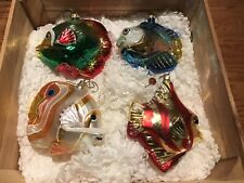 Kurt Adler Polonaise Tropicsl Fish (4) Ornaments. With Original Collectors Box.
