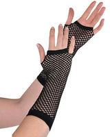 New Ladies Girls Sexy Long Fingerless Fishnet/Lace Gloves 80s--Fancy Dress