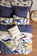 Anthropologie HIDEAWAY Pillow Shams KING Set/2 Quilted Cotton Bird Cases NWT