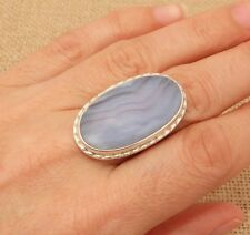 Large Oval Blue Lace Agate 925 Silver Ring UK Size P 1/2-US 8 Indian Jewellery