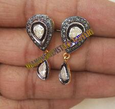 925 Sterling Silver Antique Polki Rose Cut Vintage Diamond Dangle Earrings