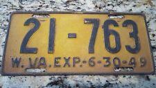 1949 West Virginia License Plate