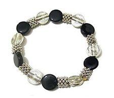 Women Girls Party Dress Gift Jewellery Black Silver Bead Stretch Bracelet Ladies