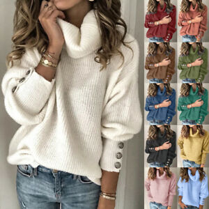 Autumn UK Womens Ladies Jumper Loose Tee Knitted Blouse Sequins Long Sleeve Tops