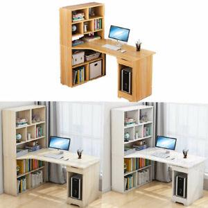 120cm Corner Table Computer Laptop Desk Storage Side Bookshelf Home Worksation