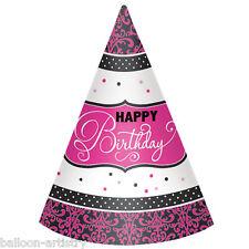 12 Stylish Black & Pink Happy Birthday Party Elegant Paper Cone Hats