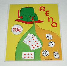 Vintage Reno Slot Machine Gumball Machine Insert Card