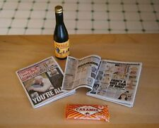 1:12 Scale  News Paper Bottlle of Buckfast & Caramel Waffer Doll House Miniature