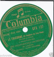 Étiquette Ancienne Ronde Pour Disque Papier marque Columbia Titre Le Tricorne