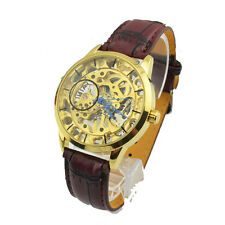 Mens Skeleton Hand-Winding Mechanical PU Wrist Watch red brown golden dial